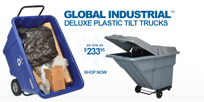 Global Industrial™ Deluxe Plastic Tilt Trucks - as low as $233.95