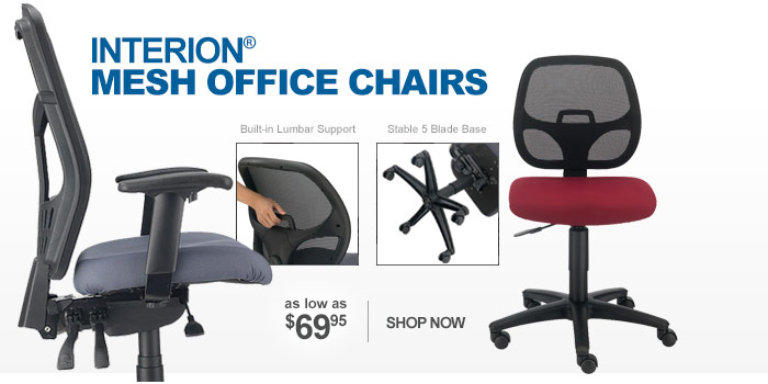 Interion® Mesh Back Office Chairs - as low as $69.95