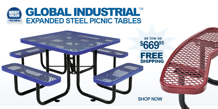 Global Industrial™ Expanded Steel Picnic Tables - as low as $669.95