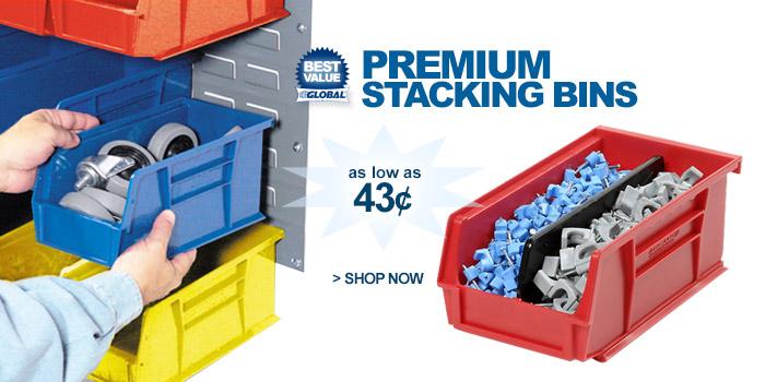 Global Industrial™ Premium Stacking Bins - as low as 43¢
