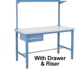 """60""""L X 30""""W Production Bench - Plastic Square Edge-Blue"""