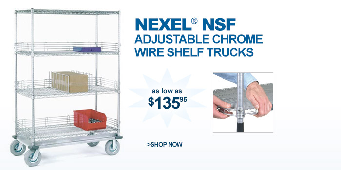 Nexel® Adjustable Chrome Wire Shelf Trucks - as low as $135.95