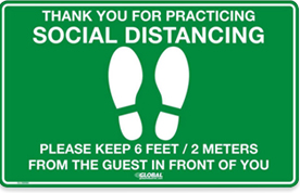 Green Social Distancing Floor Sign